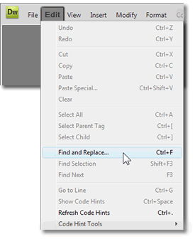 find and replace tool from the edit menu