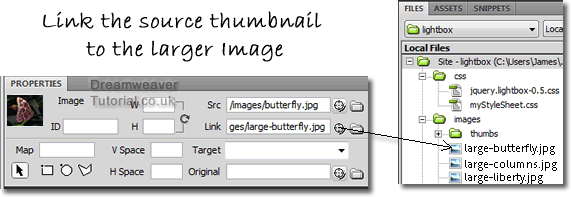 Linking thumbnails to larger jQuery Gallery images
