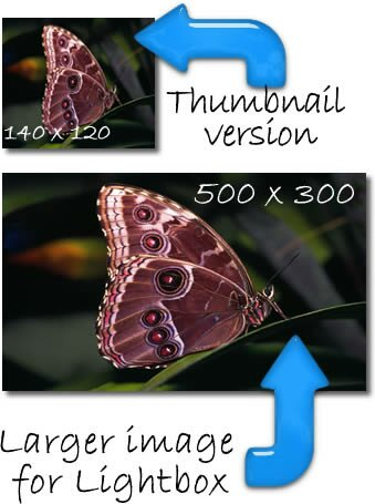 jQuery lightbox thumbnail and larger image