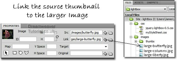 Linking the jQuery thumbnail image to the larger lightbox image