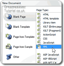Select XML document and create
