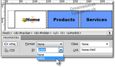 Applying the onlink to a Navigation Tab